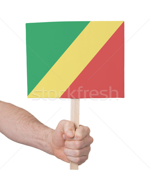 Hand holding small card - Flag of Congo Stock photo © michaklootwijk