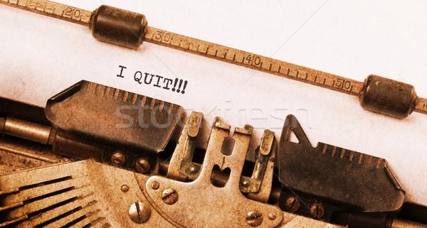 Stock photo: Vintage typewriter - I Quit, concept of quitting