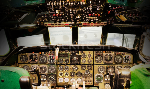 Stock photo: Center console and throttles in airplane
