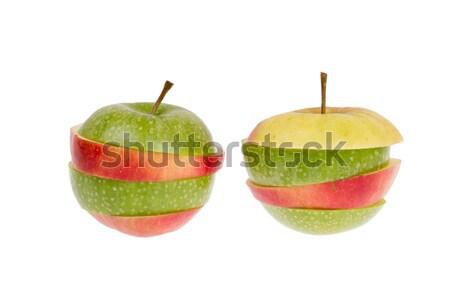 Groene rode appel geïsoleerd grijs voedsel Stockfoto © michaklootwijk