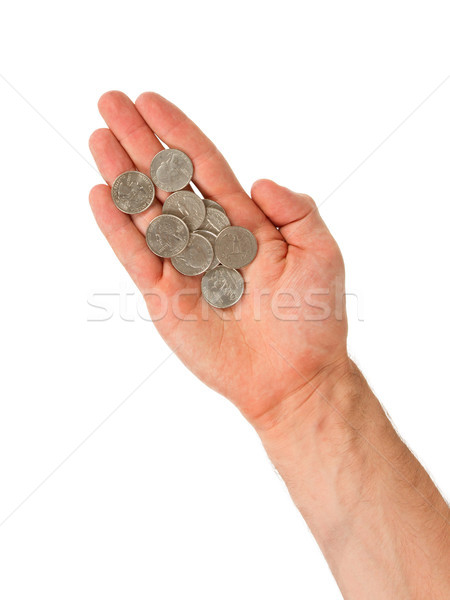USA cents in the hand of a man, isolated Stock photo © michaklootwijk