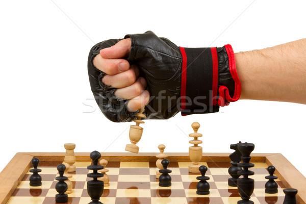 Oynama satranç eldiven yalıtılmış beyaz dizayn Stok fotoğraf © michaklootwijk