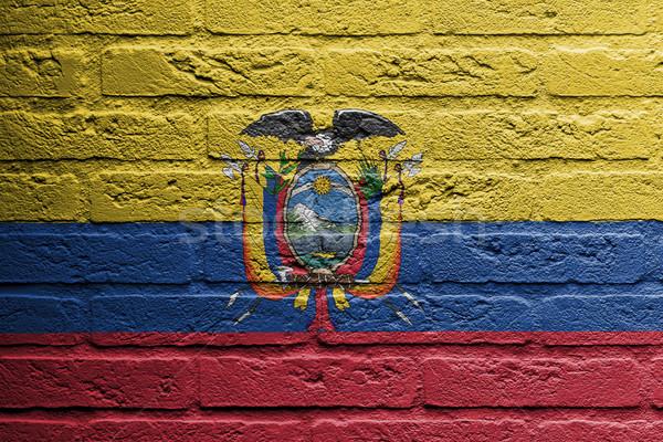 レンガの壁 絵画 フラグ エクアドル 孤立した デザイン ストックフォト © michaklootwijk