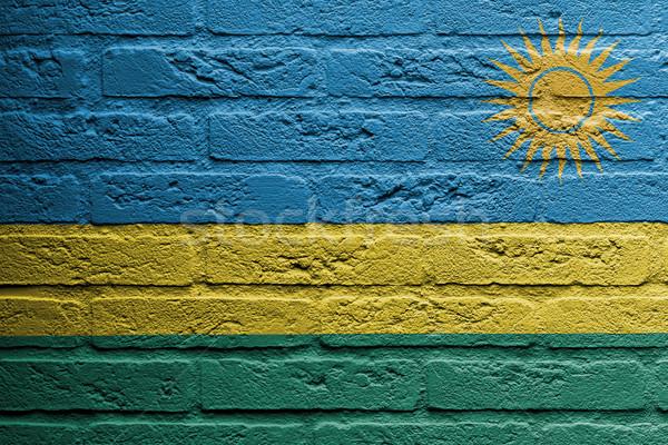 Mur de briques peinture pavillon Rwanda isolé peinture Photo stock © michaklootwijk