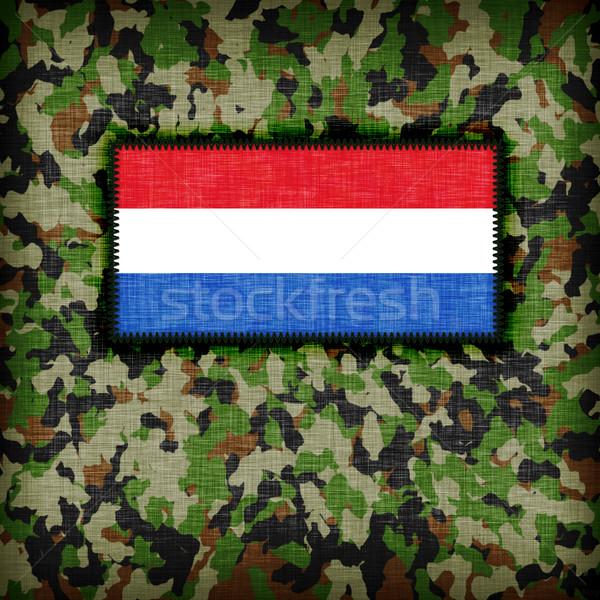 Tarnung einheitliche Niederlande Flagge Textur abstrakten Stock foto © michaklootwijk