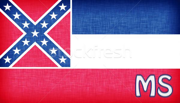 Vászon zászló Mississippi rövidítés szövet vidék Stock fotó © michaklootwijk