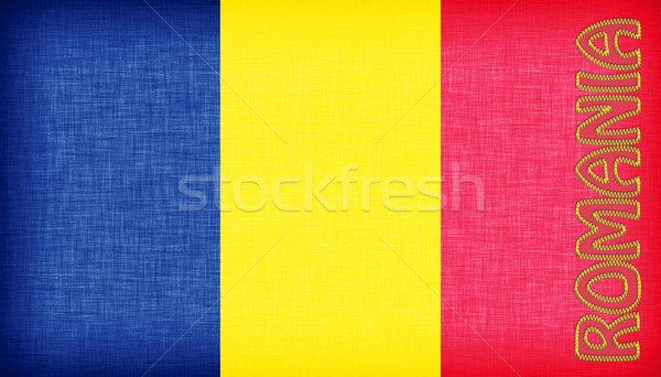 Linen flag of Romania Stock photo © michaklootwijk