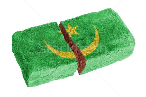 Stockfoto: Ruw · gebroken · baksteen · geïsoleerd · witte · vlag