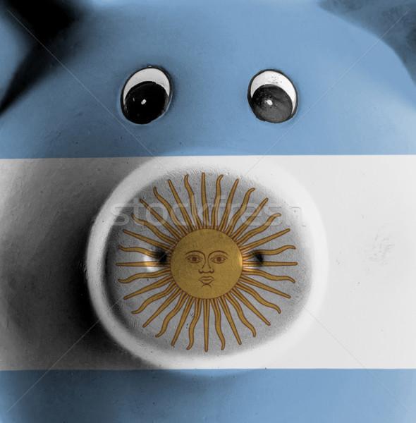 Stock fotó: Kerámia · persely · festmény · zászló · Argentína · pénz