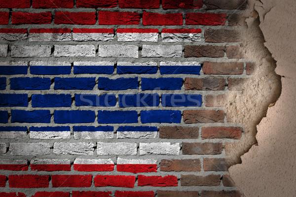 Sötét téglafal tapasz Thaiföld textúra zászló Stock fotó © michaklootwijk