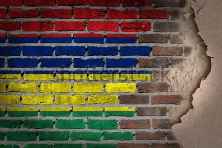 темно кирпичная стена правые Таджикистан текстуры флаг Сток-фото © michaklootwijk