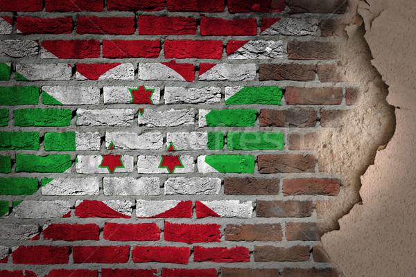 Escuro parede de tijolos gesso Burundi textura bandeira Foto stock © michaklootwijk