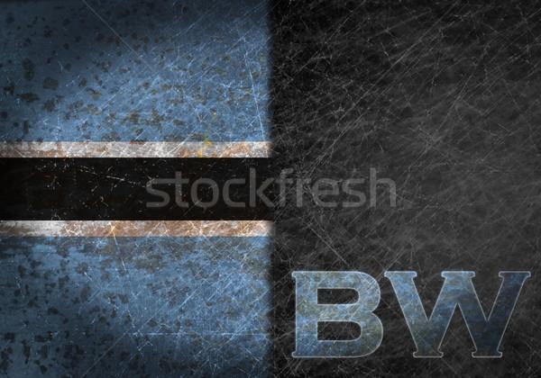 Foto stock: Velho · enferrujado · metal · assinar · bandeira · país