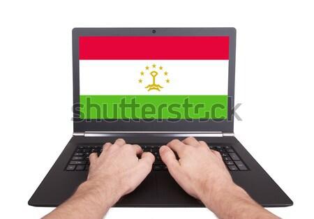 Mãos trabalhando laptop Marrocos tela Foto stock © michaklootwijk