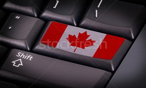 Foto stock: Bandeira · teclado · botão · Canadá · projeto · tecnologia