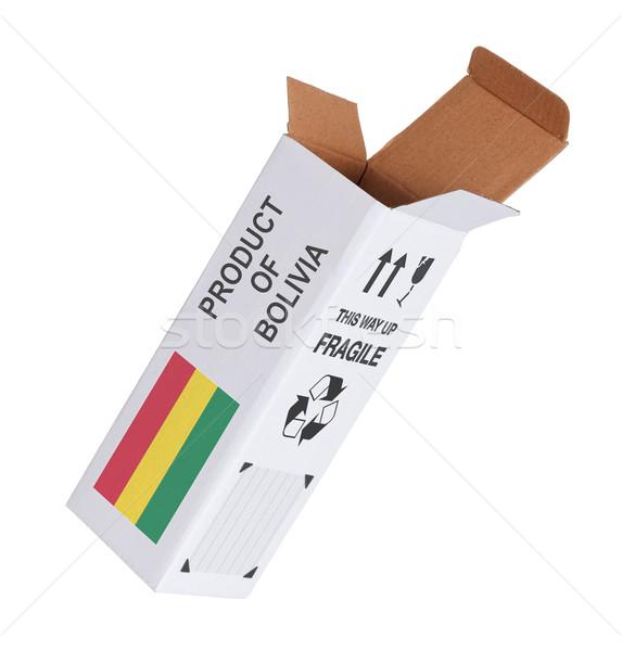 Export termék Bolívia kinyitott papír doboz Stock fotó © michaklootwijk