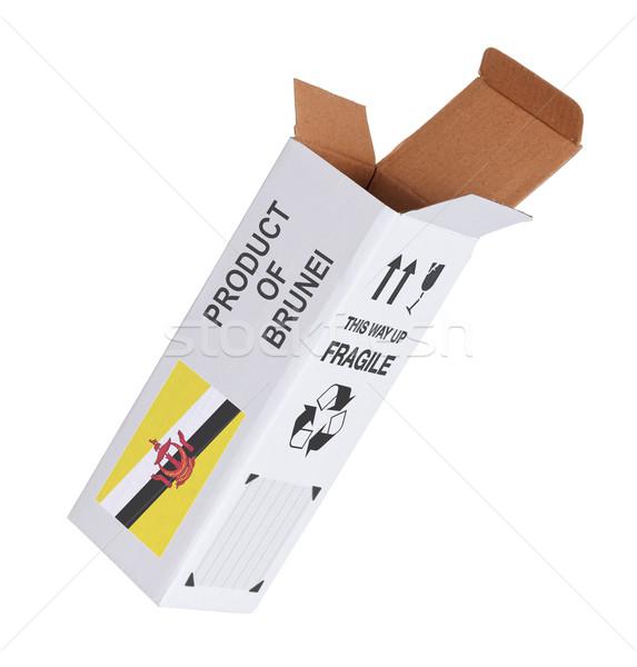 Exportar produto Brunei papel caixa Foto stock © michaklootwijk