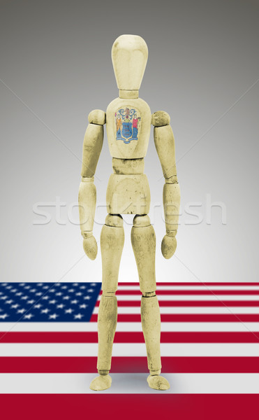 Wood figure mannequin with US state flag bodypaint - New Jersey Stock photo © michaklootwijk