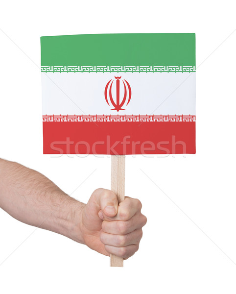 Hand holding small card - Flag of Iran Stock photo © michaklootwijk