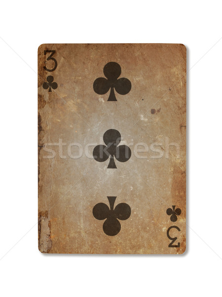 Very old playing card, three of clubs Stock photo © michaklootwijk