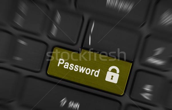 Tekst wachtwoord knop zwarte computer Stockfoto © michaklootwijk