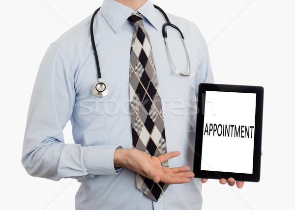 Medico tablet appuntamento isolato bianco Foto d'archivio © michaklootwijk