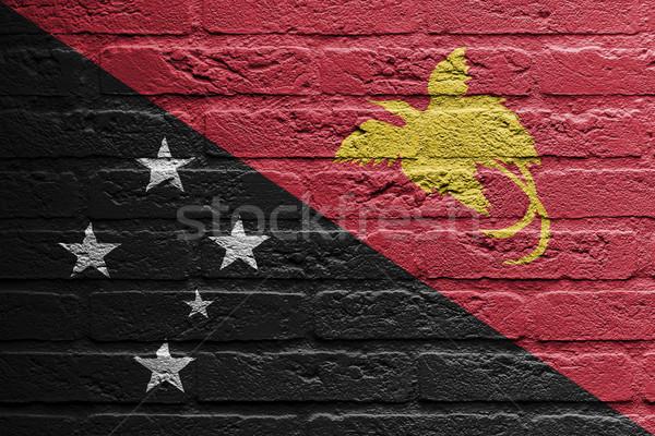 кирпичная стена Живопись флаг Папуа-Новая Гвинея изолированный краской Сток-фото © michaklootwijk