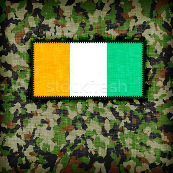 Kamuflaż uniform Wybrzeże Kości Słoniowej banderą tekstury streszczenie Zdjęcia stock © michaklootwijk