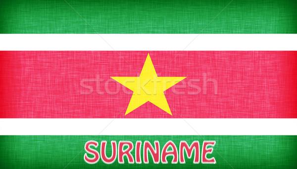 Vászon zászló Suriname levelek textúra háttér Stock fotó © michaklootwijk