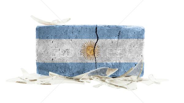 Tégla törött üveg erőszak zászló Argentína fal Stock fotó © michaklootwijk
