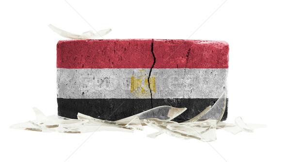 Mattone vetri rotti violenza bandiera Egitto muro Foto d'archivio © michaklootwijk