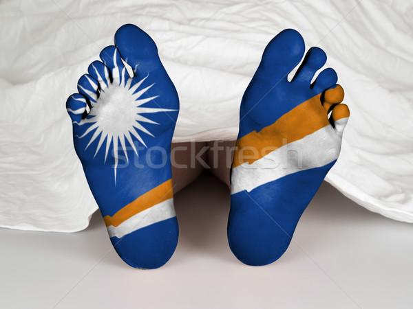 Voeten vlag slapen dood vrouw teken Stockfoto © michaklootwijk