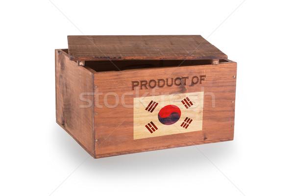 Stock fotó: Fából · készült · láda · izolált · fehér · termék · Dél-Korea