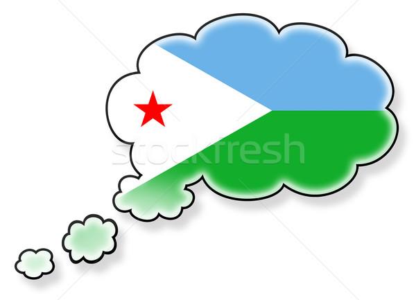 Vlag wolk geïsoleerd witte Djibouti kunst Stockfoto © michaklootwijk