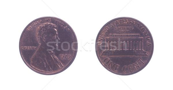 Amerykański jeden cent monety odizolowany biały Zdjęcia stock © michaklootwijk