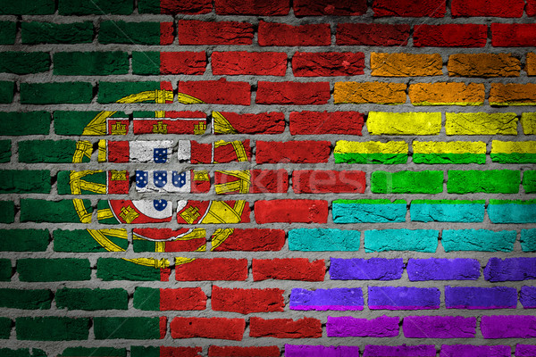 Dark brick wall - LGBT rights - Portugal Stock photo © michaklootwijk