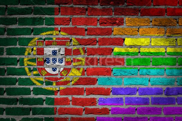 Sötét téglafal jogok Portugália textúra zászló Stock fotó © michaklootwijk