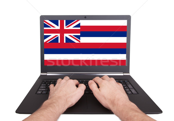 Mani lavoro laptop Hawaii schermo Foto d'archivio © michaklootwijk