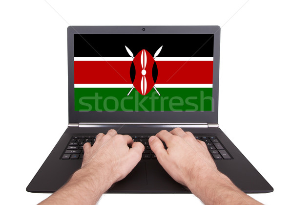 Mains travail portable Kenya écran Photo stock © michaklootwijk
