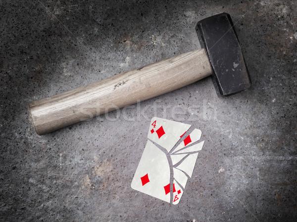 Stock fotó: Kalapács · törött · kártya · négy · gyémántok · klasszikus