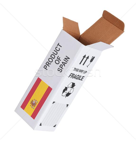 Exportar produto Espanha papel caixa Foto stock © michaklootwijk