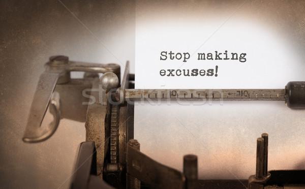 Vintage opschrift oude schrijfmachine stoppen Stockfoto © michaklootwijk