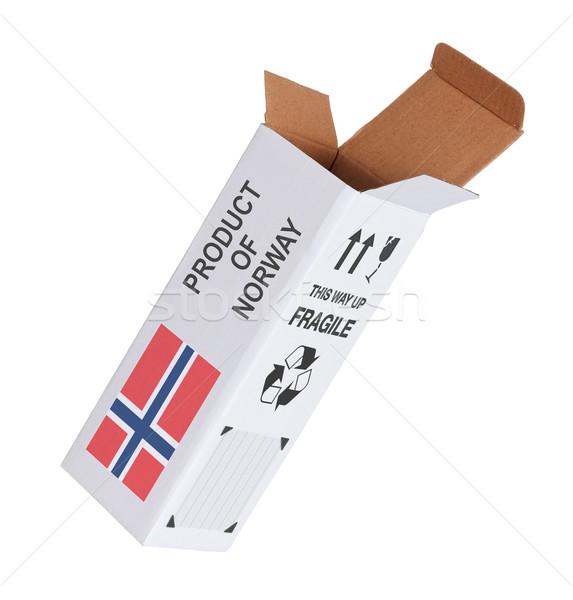 Exportar produto Noruega papel caixa Foto stock © michaklootwijk