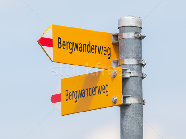 Bergwanderweg sign in the mountains, navigation for hikers Stock photo © michaklootwijk
