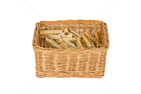Basket with wooden clothespins Stock photo © michaklootwijk