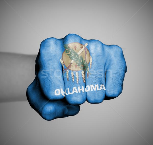 Estados Unidos punho bandeira Oklahoma ginásio azul Foto stock © michaklootwijk