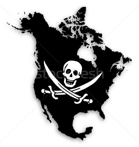 Stock photo: Map of North America filled with a pirate flag