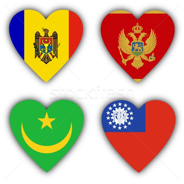 Stockfoto: Vlaggen · vorm · hart · verschillend · landen · liefde