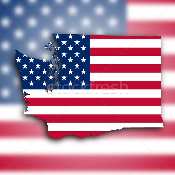 Kaart Washington achtergrond silhouet grafische cultuur Stockfoto © michaklootwijk