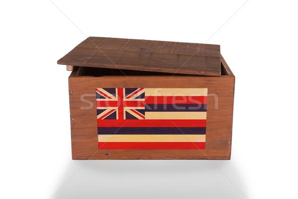 Stock fotó: Fából · készült · láda · izolált · fehér · termék · Hawaii